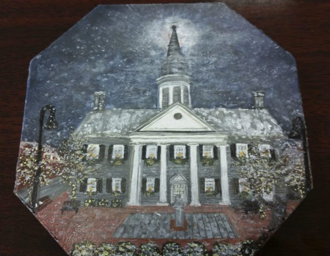 "Shenandoah County's submission for the governor's ""Celebrating Virginia's Localities"" holiday tree theme challenge was designed by local Artisan Trail artist Roberta Demski. Demski painted a wintery scene of the Historic Courthouse on a historic tile from the courthouse to showcase the building's importance in the county.  Courtesy photo"